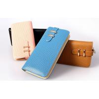 Buy cheap light golden metal hasp lady wallets genuine cow leather factory direct from wholesalers