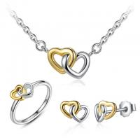 Original Silver Heart Jewelry Set For Women , Romantic Necklace Earring Ring Sets