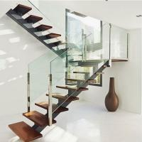 Buy cheap Hot sell mono beam interior glass stair railing wood straight staircase from wholesalers