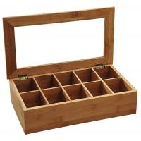 Buy cheap best gift bamboo wooden tea bag compartment caddy box with acrylic lid from wholesalers