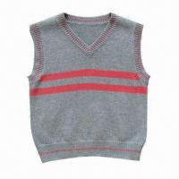 Buy cheap Fashionable V-neck knitted baby sweater/vest, made of 100% cotton from wholesalers