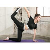 Buy cheap Black Color Women Sportswear Suits Lycra Material Offset Printing For Yoga Sports product