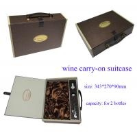 China Customized Cardboard Paper Wine Box with Leather Handle, Wine Carry-on Suitcase on sale