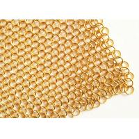 Buy cheap 2MM Dia 20mm OD Golden Color Metal Ring Mesh Fabric For Hotel Metallic Curtain from wholesalers