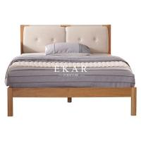 Buy cheap Solid Oak Wood Fabric Headboard Nordic King Size Bed from wholesalers