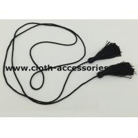 Buy cheap Polyester Skinny Cloth Belts With Fringe Tassel / Black Braided Belt For Women from wholesalers