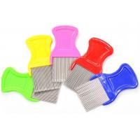 China Multi Color ABS Handle Fine Toothed Flea Comb With Long Stainless Steel Pins on sale