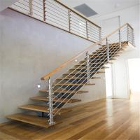 Buy cheap ACE Center Stringer Stainless Steel Railing Balustrade Wood Straight Staircase from wholesalers