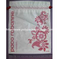 Buy cheap Small Recyclable White Plastic Drawstring Bags with Flower Printed For Underwear from wholesalers
