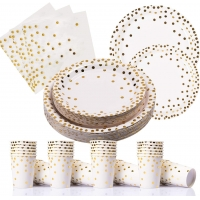 Buy cheap 100  Biodegradable Gold Dot Paper Plates from wholesalers