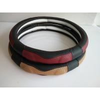 Buy cheap Mixed Black Red Leather Car Steering Wheel Cover For Four Season from wholesalers