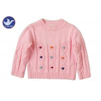 Long Sleeves Girls Cable Knit Jumper Crew Neck Pullover Style Anti - Pilling
