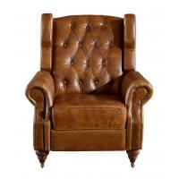 Georgian Style High Backed Winged Leather Chairs Brown