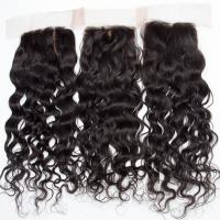 Buy cheap Human Hair Swiss Lace Closure Malaysian Hair Extensions 4 X 4 Water Wave from wholesalers