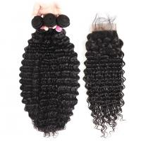 Buy cheap No Tangle 100% Virgin Human Hair Extensions And 4 X 4 Closures from wholesalers