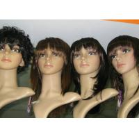 Buy cheap Customized Short Curly Synthetic Human Hair Full Lace Wigs Brown Tangle Free from wholesalers