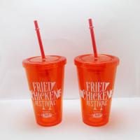 Buy cheap Logo Printed Custom Giveaways 16oz Double Wall Plastic Cup with Straw from wholesalers