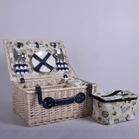 Buy cheap Factory Fabric Linen Wicker Rattan Food Bread Storage 4 Persons Woven Willow Picnic Hamper Basket Set With Cooler Bag An from wholesalers