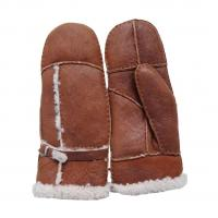 Buy cheap Bilberry Cheap Patched Sheepskin Lamb Fur Mittens with Belt for lady brown color from wholesalers