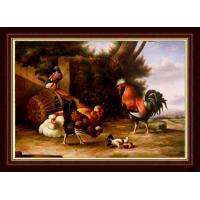 Buy cheap hand painted realistic life chicken oil painting from wholesalers