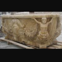 Buy cheap Hotel Deocration Beige travertine bathtub with figure statue carving for bathroom,china sculpture supplier from wholesalers