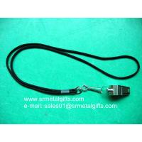 Buy cheap Sports metal whistle with rope strap for sale, cheap steel whistles from wholesalers