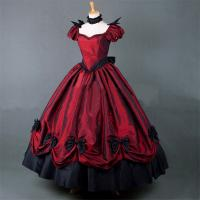 Buy cheap Medieval Dress Wholesale XXS to XXXL Custom Made Red Puff Sleeves ROCOCO Ball Gown Gothic Medieval Victorian Dress from wholesalers