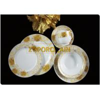 Elegant And Stylish Gold  Design Ceramic Round Dinnerware Sets Fashion Style Lead-Free Safety