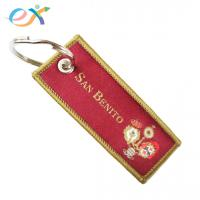 Buy cheap Red Color Personalized Fabric Keychains , Polyester Keychain With Logo Customized from wholesalers