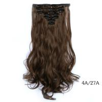 Buy cheap Dark Brown Long Synthetic Clip In Hair Extensions Silky Straight Hair Weave from wholesalers