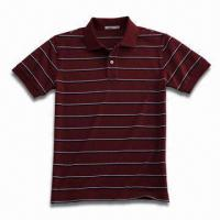 Buy cheap Men's Yarn-dyed Short Sleeve Polo Shirt, Fashionable Style, Available in Black and White from wholesalers