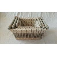 Buy cheap rectangle willow wicker storage baskets with liner and wooden handles from wholesalers