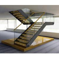 Buy cheap Wooden Straight Staircase Design With Glass Railing for Residence from wholesalers