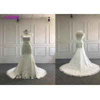 Satin Embroidery A Line Ball Gown Wedding Dress With Lace Taffeta Short Sleeves