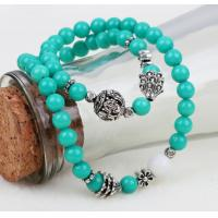 Buy cheap Mashan Jade beaded bracelets, double wrap bracelets, arhat prayer beads, teal gemstone from wholesalers