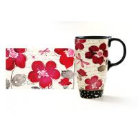 Buy cheap 500ml Seal Lid Ceramic Drinking Sets / Juice Milk Flower Bird Ceramic Mugs from wholesalers