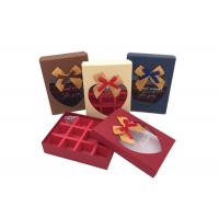 Buy cheap Fancy Small Chocolate Gift Box With Ribbon Bows And Heart Shaped Window from wholesalers