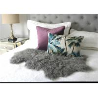 Hide Pelt Grey Bedroom Sheepskin Rugs 100% Mongolian Lamb Fur With Long Hair
