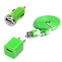 Buy cheap USB Home AC Wall charger+Car Charger+8 Pin Sync USB Cord for iPhone 5 5S 5C 5G Green product