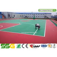 Buy cheap Indoor Basketball Silicon PU Sports Flooring Stable Surfacing Materials Red / Green from wholesalers
