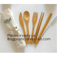 Buy cheap Eco friendly 5 Pieces Fork Knife Spoon Bamboo Disposable Cutlery Set Reusable Bamboo Cutlery Travel Set Bagease pack from wholesalers