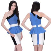 Buy cheap 2014 new arrival one shoulder ladies office blue and white empire waist bandage dress from wholesalers