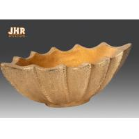 Buy cheap Boat Shape Frosted Gold Fiberglass Flower Serving Bowl For Home Wedding from wholesalers