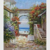 Buy cheap Palette Knife Seaside Town Oil Painting Hand Painted Landscape Painting On Canvas from wholesalers