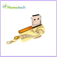 Buy cheap Pendrive 32gb Pen Drive Memory Stick Gold Stainless Steel Rotary Key Chain 8gb 16gb from wholesalers