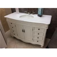 """Crystal White 22"""" Wide Marble Vanity Countertops With Oval Sink And Three Faucet Holes"""