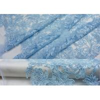 Buy cheap Blue Embroidery Floral Corded Lace Fabric With Sequin For Craft Make Gauze Dress from wholesalers