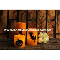 China Custom Orange Wax Halloween LED Candles Flameless for Halloween Decoration Products on sale