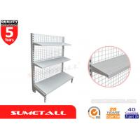 Buy cheap Single Sided Gondola Shelving With Mesh Grid Back Panel For Pharmacy Store from wholesalers