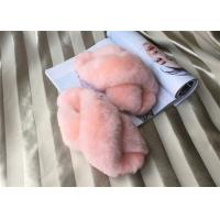 China Dyed Pink Sheep Wool Slippers Real Australia Merino Fur With15mm Slender Fleece on sale